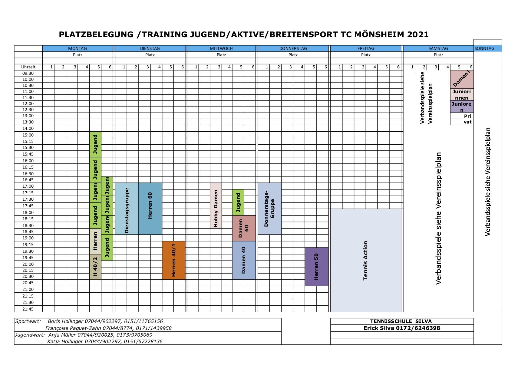 TCM Platzbelegungsplan 2021